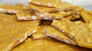 Just like our peanut brittle, cashew brittle is loaded with cashews.